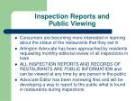 inspection reports and public viewing