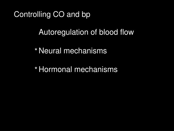Controlling CO and bp