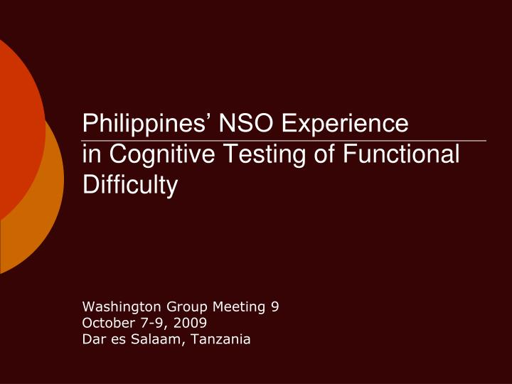 philippines nso experience in cognitive testing of functional difficulty n.
