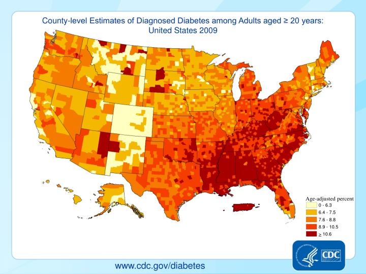 County-level Estimates of Diagnosed Diabetes among Adults aged ≥ 20 years:                                                       United States 2009