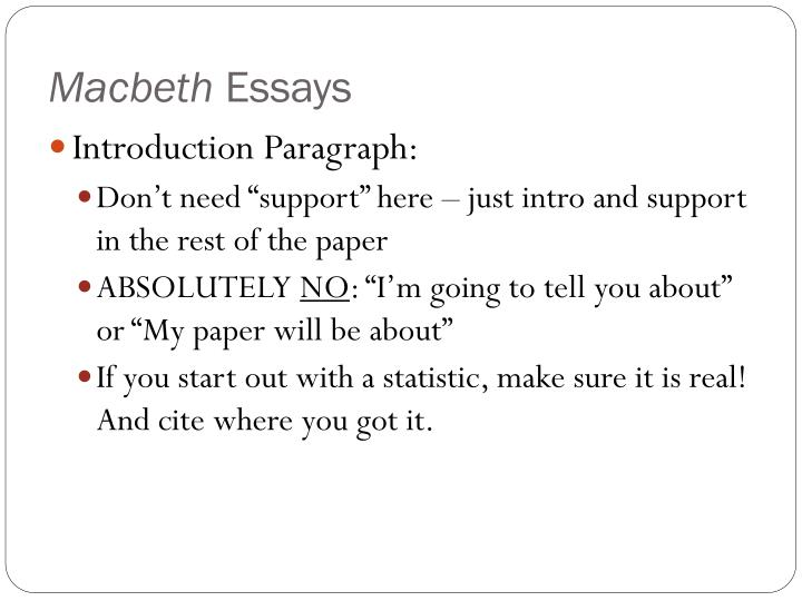 macbeth comparative essay Home → sparknotes → shakespeare study guides → macbeth → study questions macbeth suggested essay one of the important themes in macbeth is the idea.