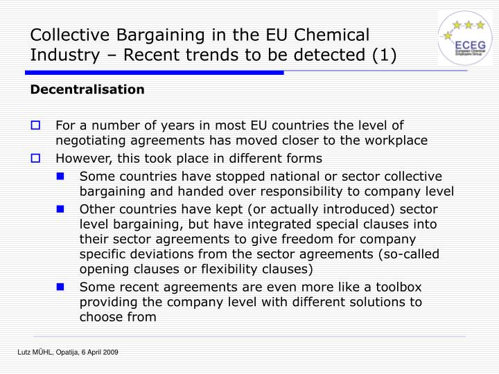 Collective Bargaining in the EU Chemical Industry – Recent trends to be detected (1)