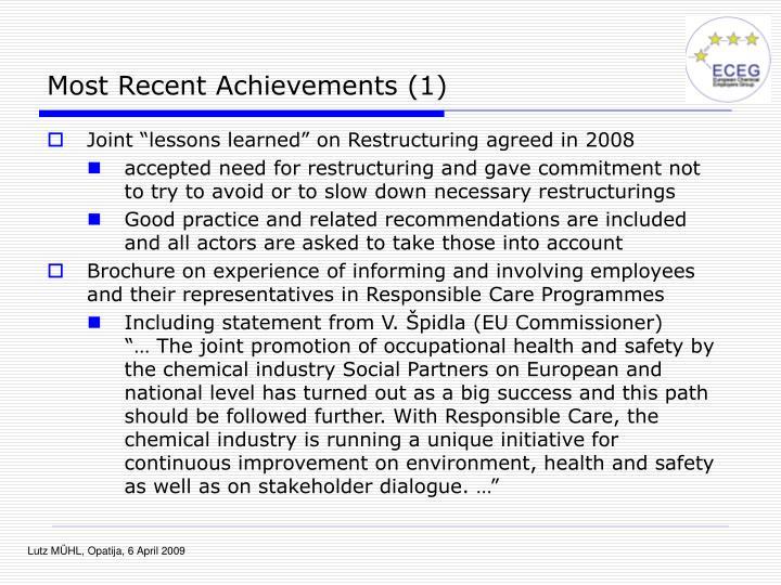 Most Recent Achievements (1)