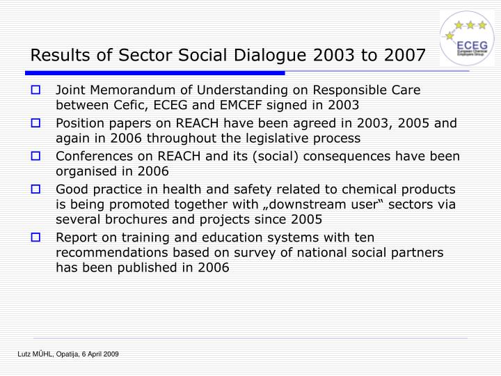 Results of Sector Social Dialogue 2003 to 2007