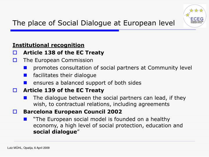 The place of Social Dialogue at European level