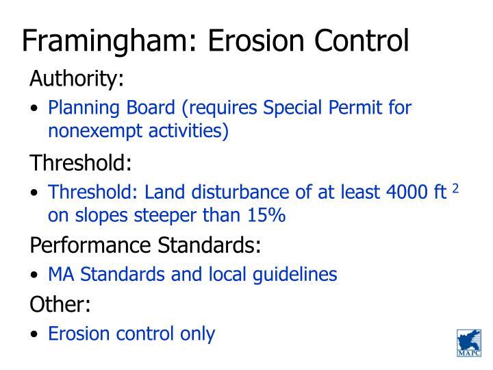 Framingham: Erosion Control