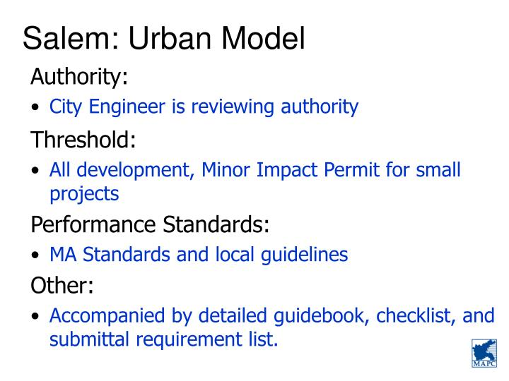 Salem: Urban Model