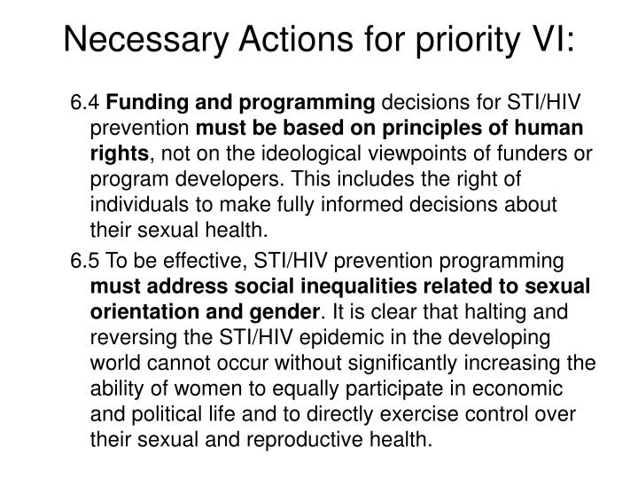 Necessary Actions for priority VI: