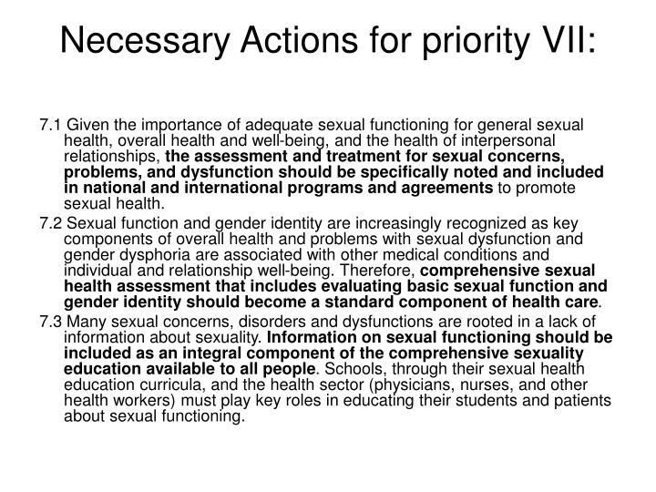 Necessary Actions for priority VII: