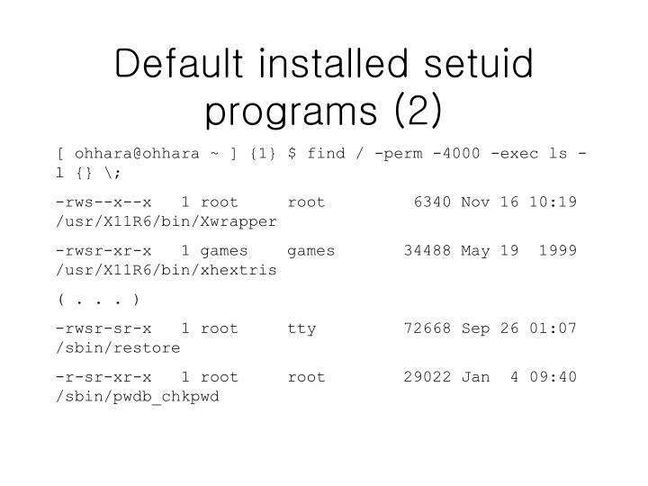 Default installed setuid programs (2)