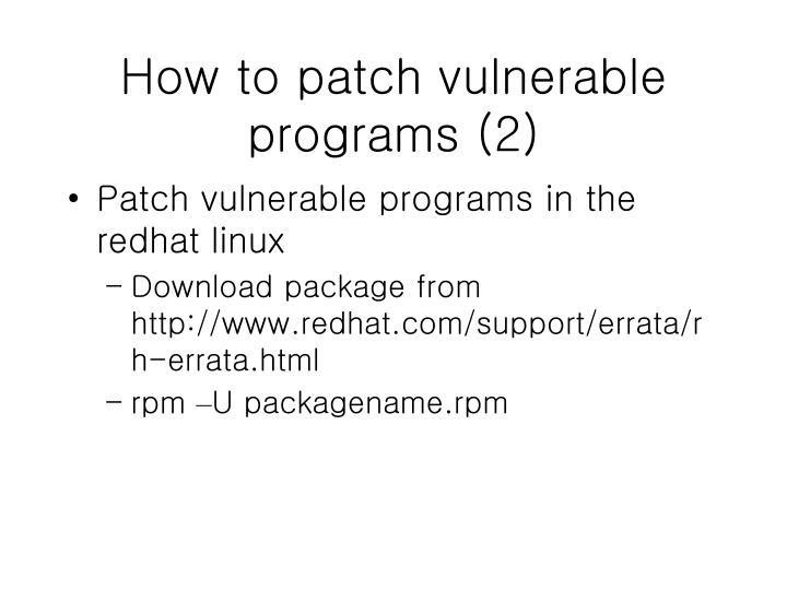 How to patch vulnerable programs (2)