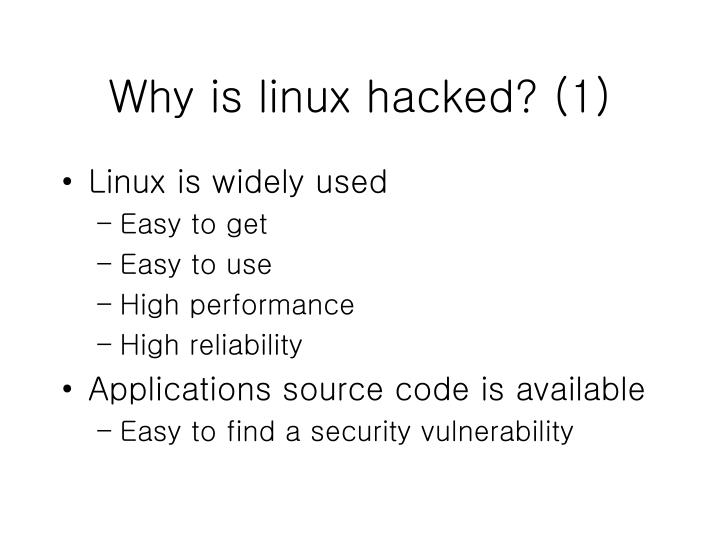 Why is linux hacked? (1)