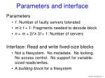 parameters and interface
