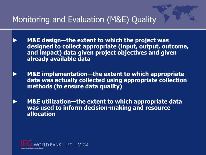 Monitoring and Evaluation (M&E) Quality