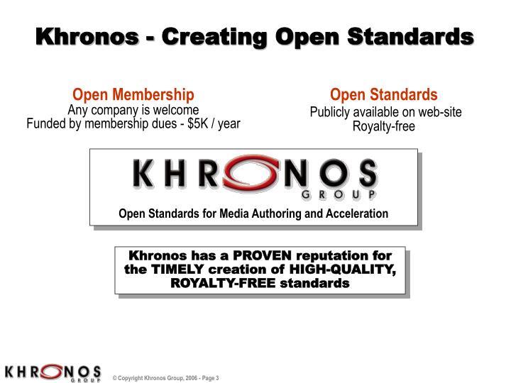 Khronos creating open standards