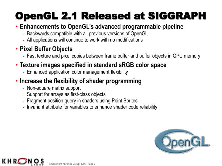 OpenGL 2.1 Released at SIGGRAPH