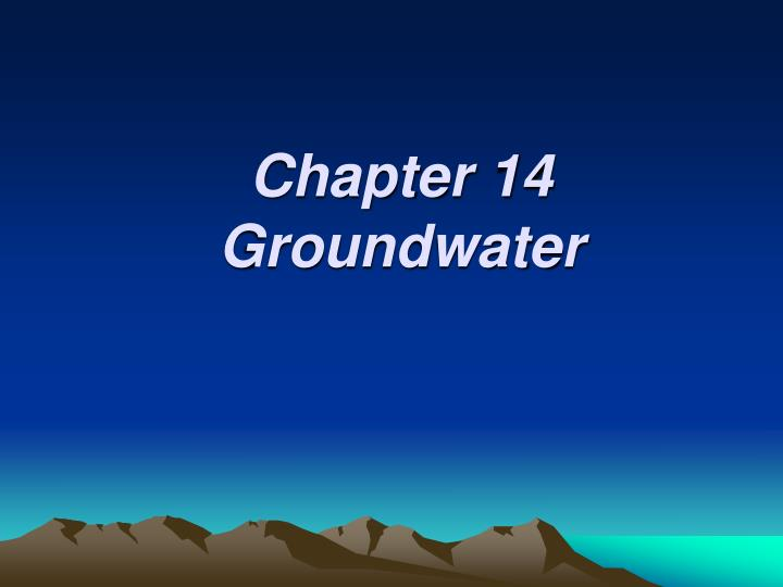 chapter 14 groundwater n.