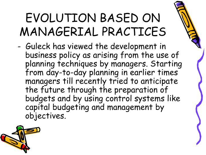 evolution of management practices
