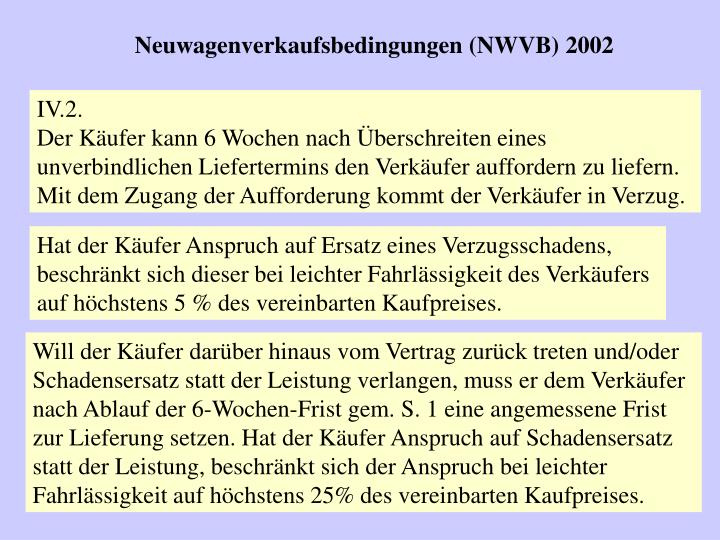 Neuwagenverkaufsbedingungen (NWVB) 2002