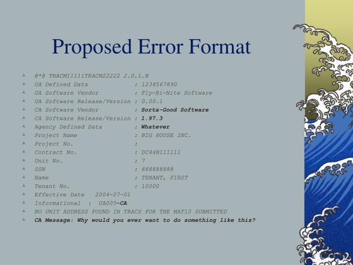 Proposed Error Format
