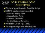 anti freeze and additives