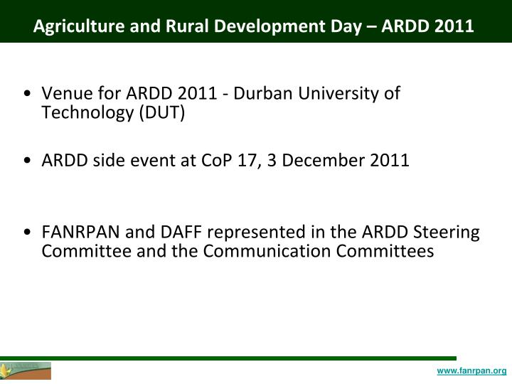 Agriculture and Rural Development Day – ARDD 2011