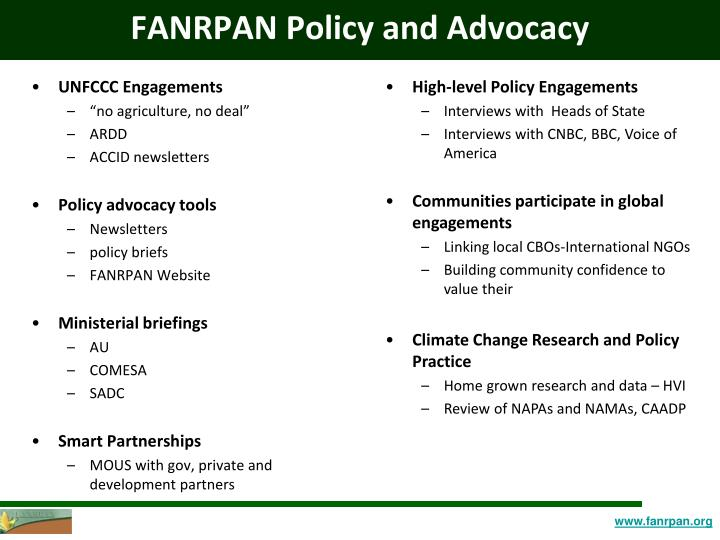 FANRPAN Policy and Advocacy