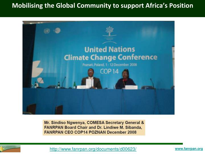 Mobilising the Global Community to support Africa's Position