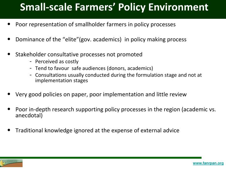 Small-scale Farmers' Policy Environment