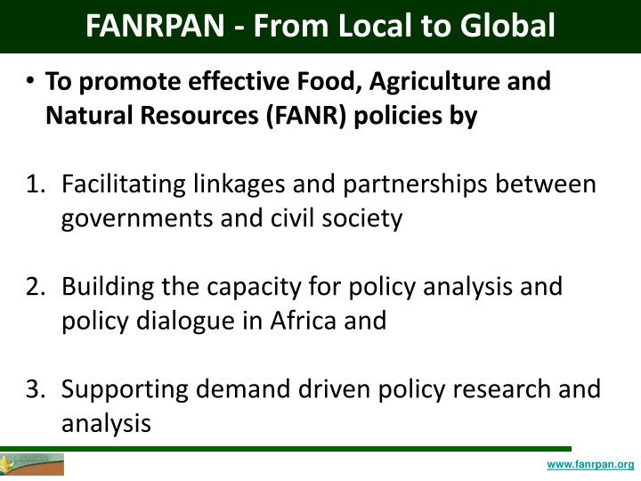 FANRPAN - From Local to Global