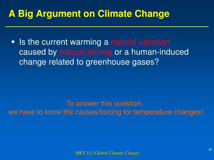 A Big Argument on Climate Change