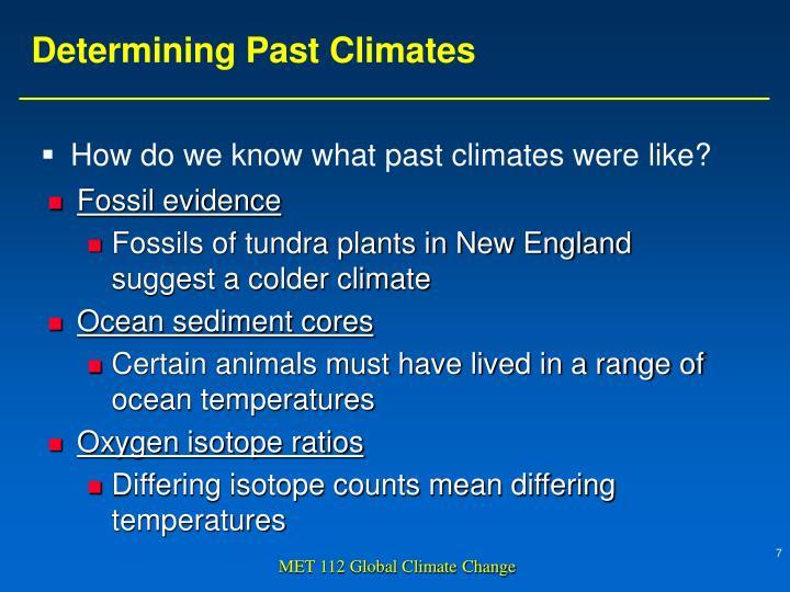 Determining Past Climates