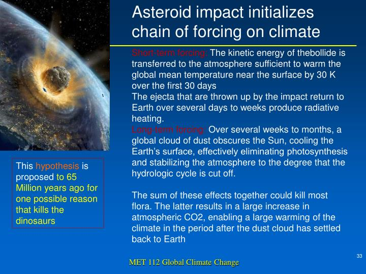 Asteroid impact initializes chain of forcing on climate
