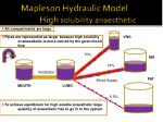 mapleson hydraulic model high solubility anaesthetic