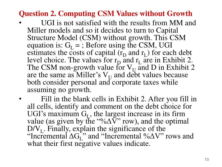 Question 2. Computing CSM Values without Growth
