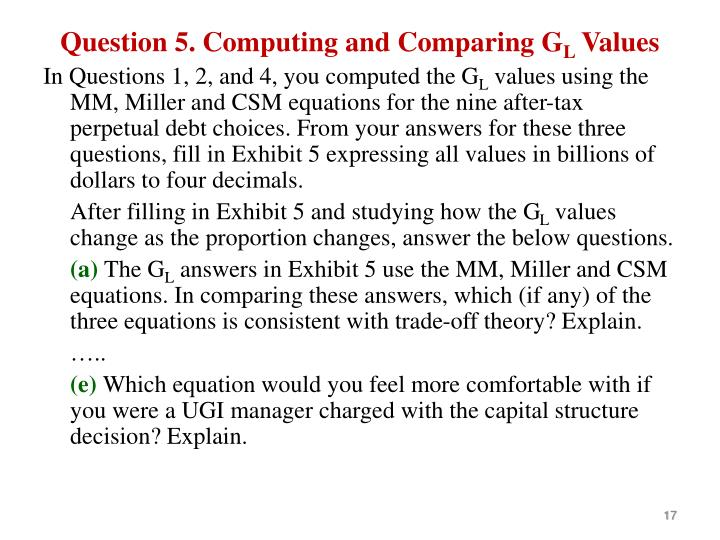 Question 5. Computing and Comparing G
