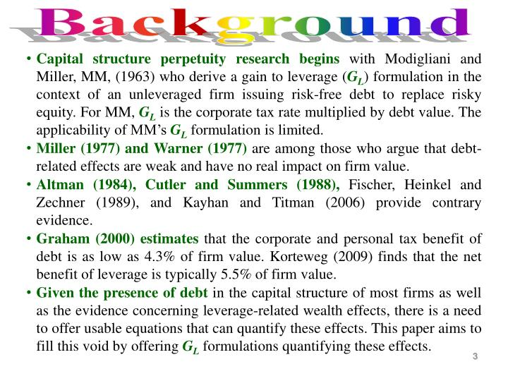 Capital structure perpetuity research begins
