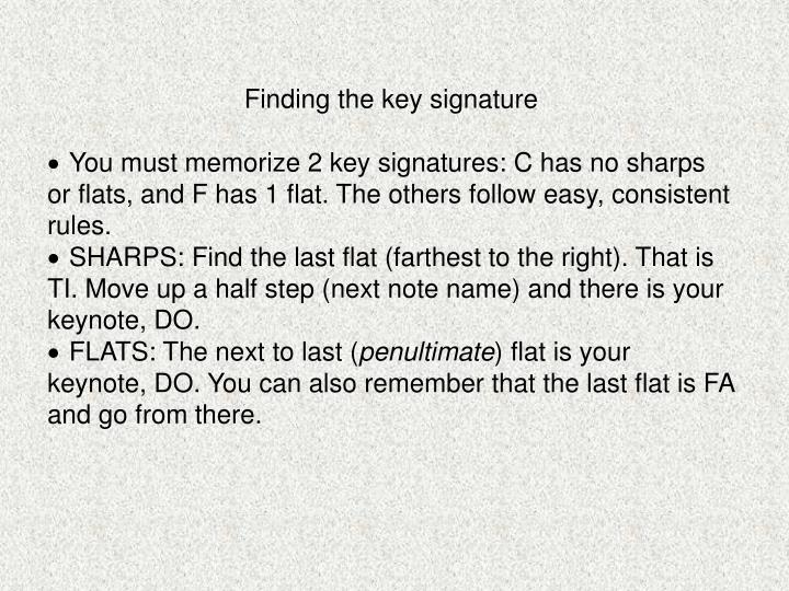 Finding the key signature