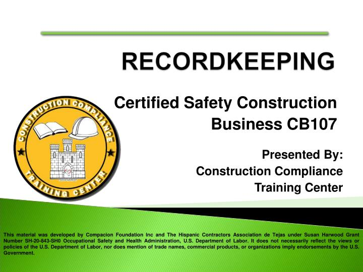 certified safety construction business cb107 n.