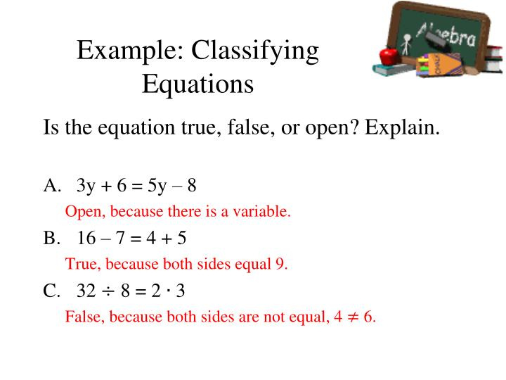 Example: Classifying Equations