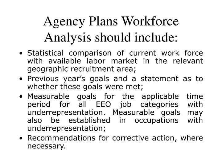 Agency Plans Workforce Analysis should include: