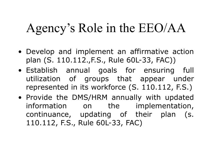Agency's Role in the EEO/AA