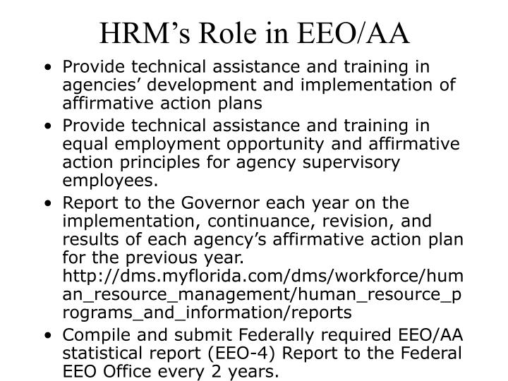 HRM's Role in EEO/AA