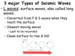 3 major types of seismic waves2