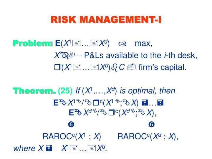 RISK MANAGEMENT-I
