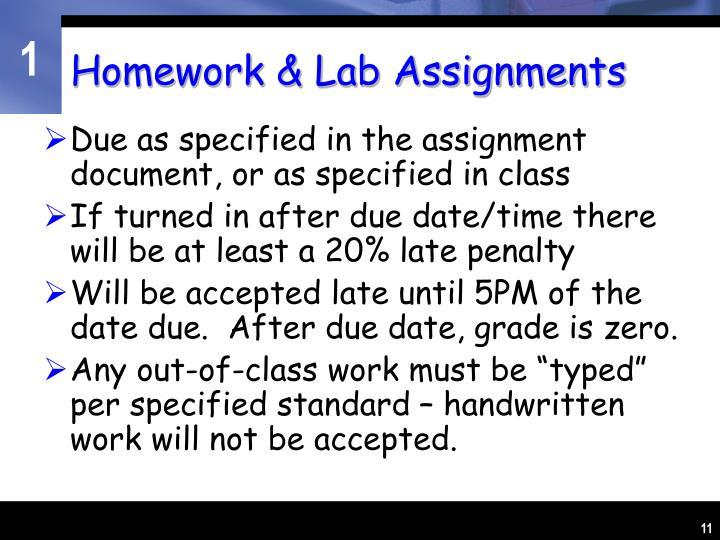 Homework & Lab Assignments