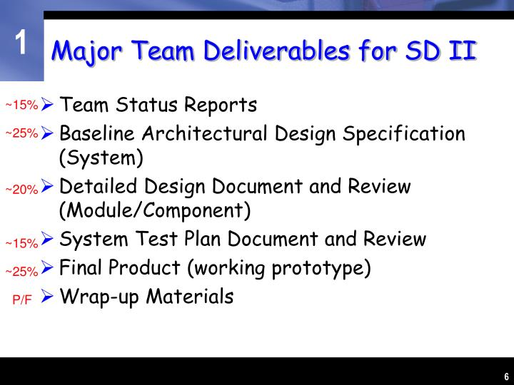 Major Team Deliverables for SD II