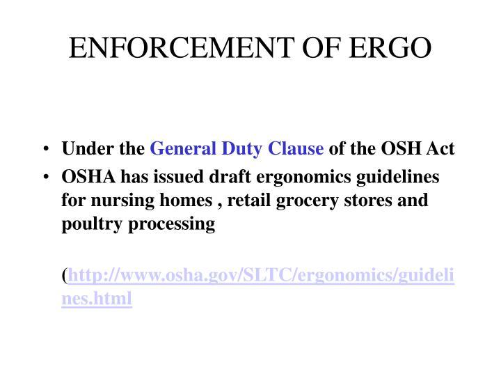ENFORCEMENT OF ERGO