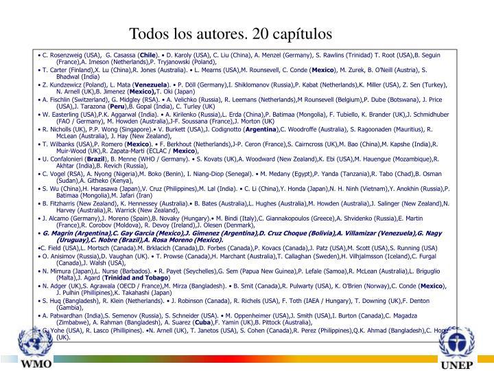 Todos los autores. 20 capítulos