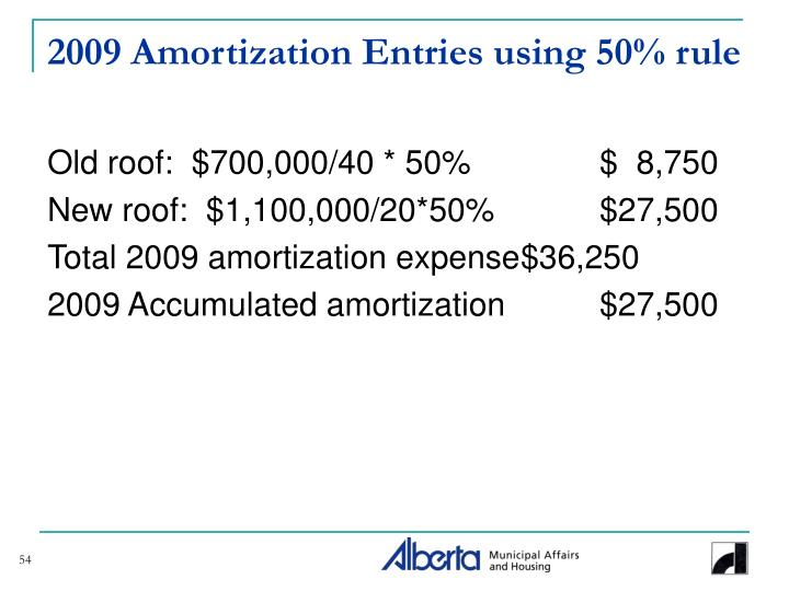 2009 Amortization Entries using 50% rule